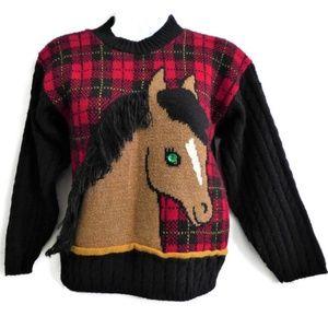 Vintage Kids Horse Plaid Sweater Heartworks 10 12